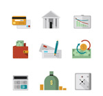 Financial element icons vector