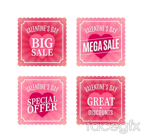 Valentine's day promotion cards vector