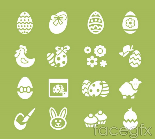 White Easter icons vector
