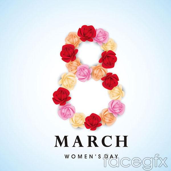 38 women's day flowers vector