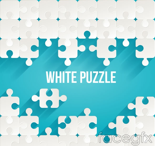 Background of white puzzle pieces vector