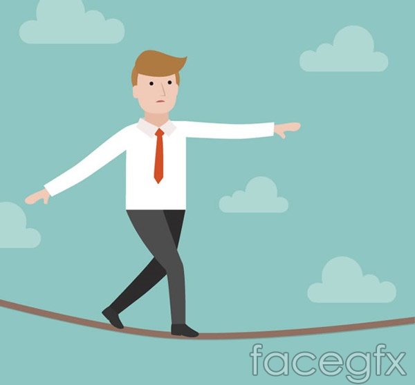 Business man rope vector