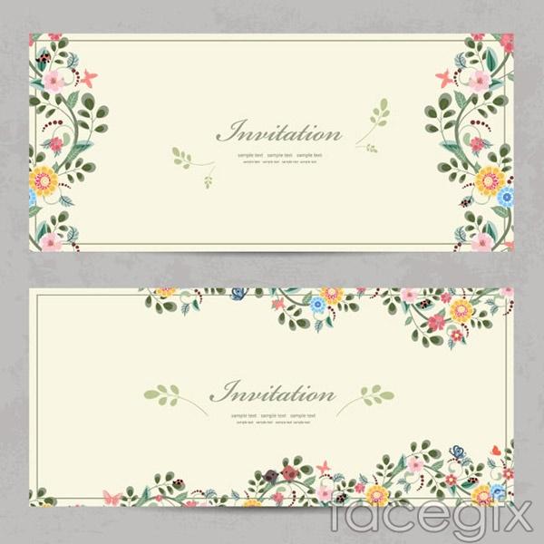 Cartoon flower invitations vector