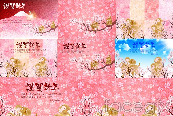 Cartoon monkey painting greeting cards vector