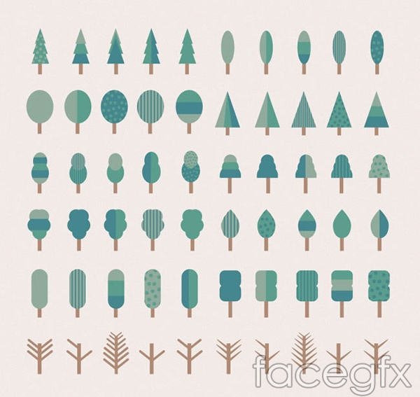 Cartoon tree icons vector