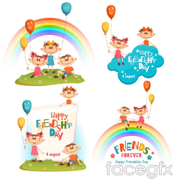 Children's Friendship Day greeting cards vector