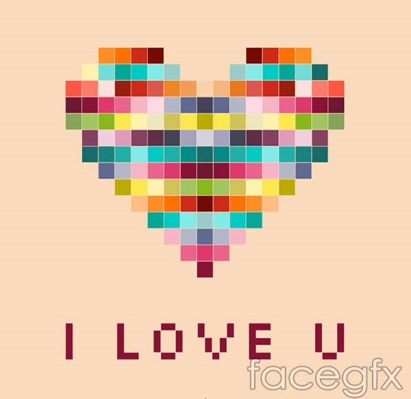 Color mosaic of love vector