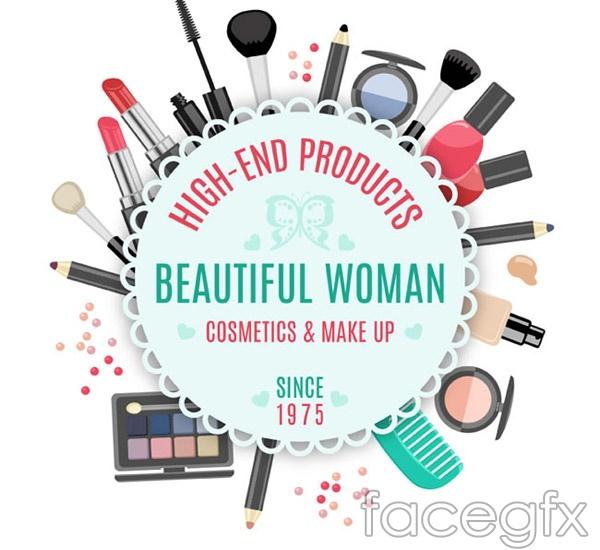 Cosmetics decoration labels vector