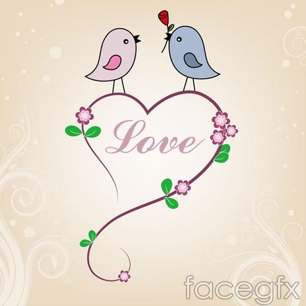 Couples love bird vector