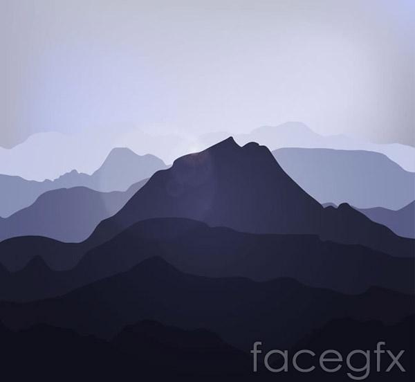 Creative mountain silhouette vector