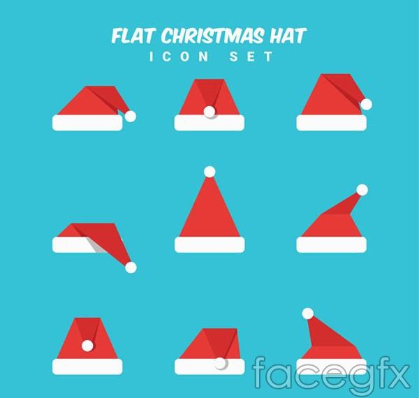 Flat Santa hats vector