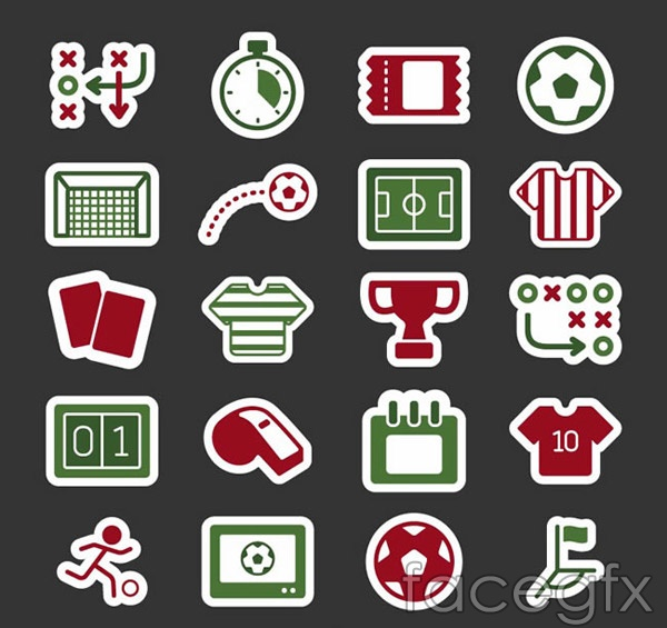 Football icon elements vector