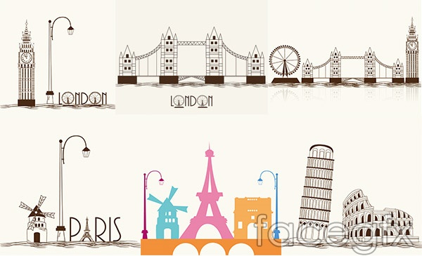 Hand-painted scenic buildings vector