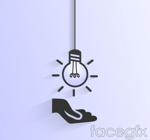 Lifts with one hand light bulbs vector