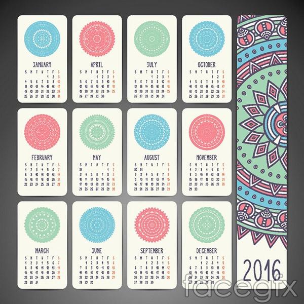 Pattern 2016 calendar vector