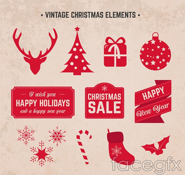 Red Christmas elements vector