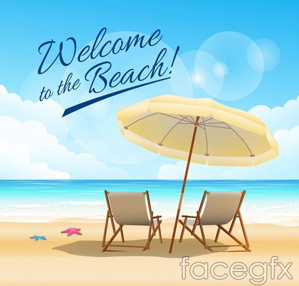 Summer beach vacation views vector