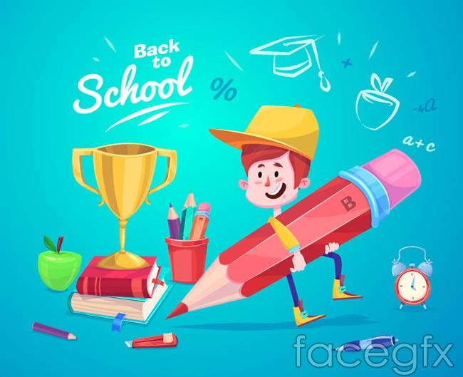 The boy holding a pencil vector