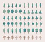 Cartoon tree icons vector