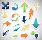 Colored arrows sticker vector