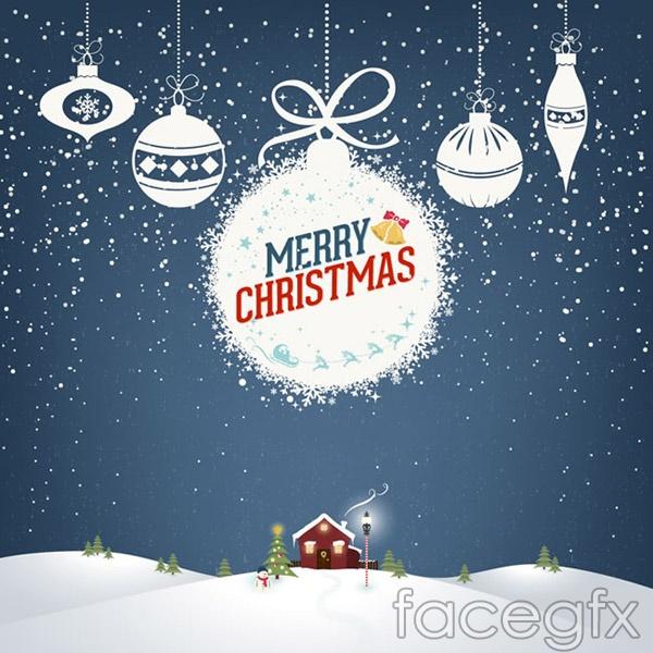White Christmas ornament card vector