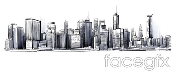 Hand-painted city skyline vectors