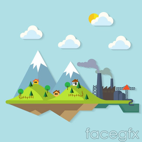 Mountain factory illustration vector