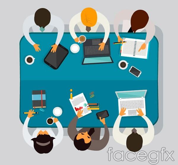 Team meeting top vector