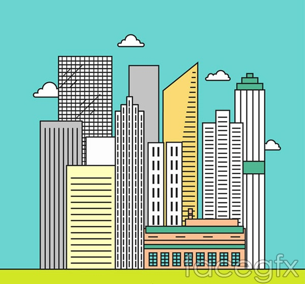Line urban buildings vector