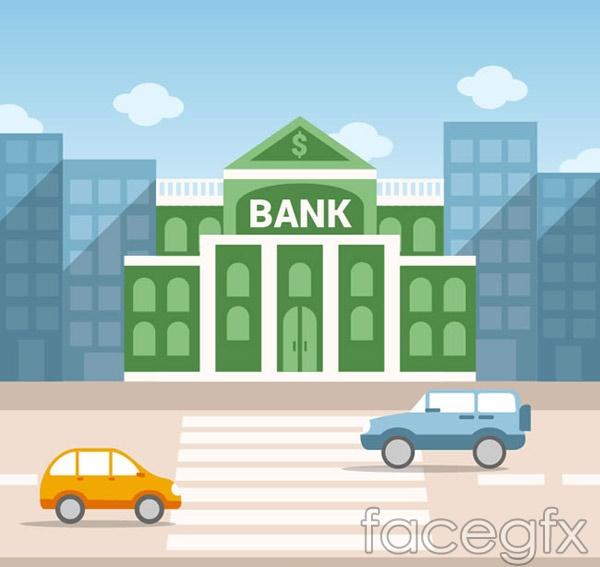 Bank Street building vector