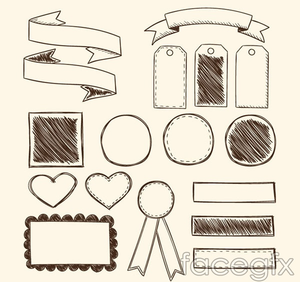 Blank ribbons and labels vector