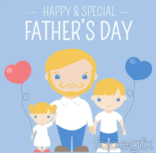 Cartoon father and child vector
