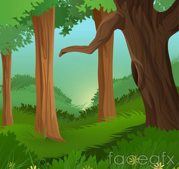 Cartoon of forest landscape vector