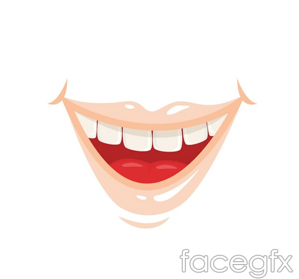 Cartoon smiling lips vector