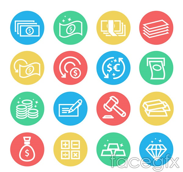 Currency element icons vector