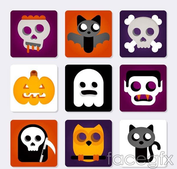 Halloween element icons vector