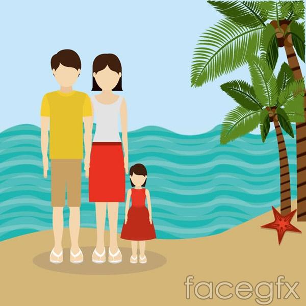 Holiday family of three vector