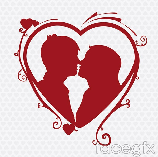 Kissing couple silhouette vector