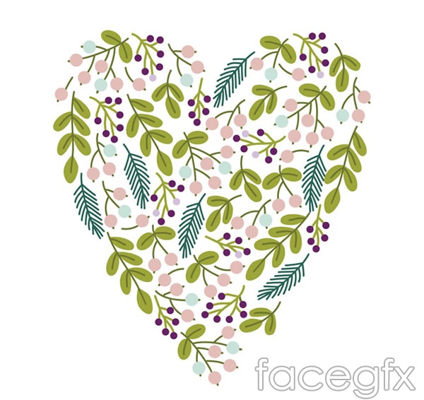Leaves berries mix love vector