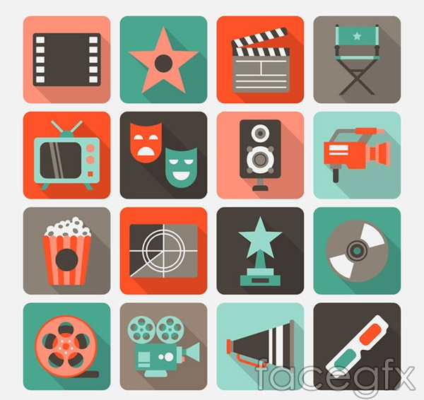 Movie element icons vector