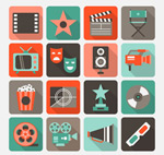 Movie element icons vector