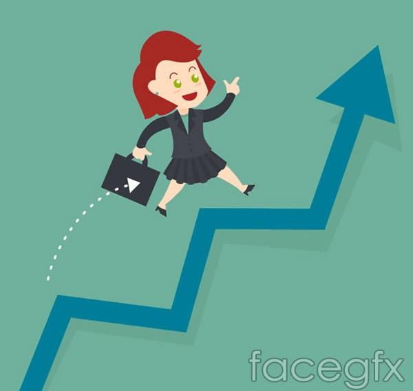 Arrow business woman vector