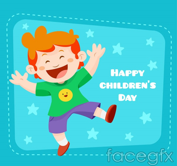 Boy children's Day greeting cards vector