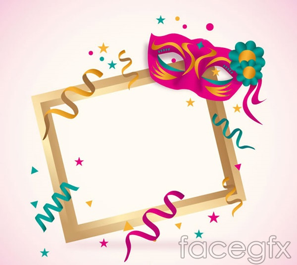 Color masks decorate photo frames vector