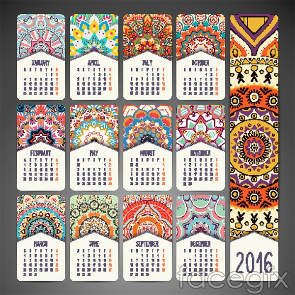 Disk 2016 calendar vector