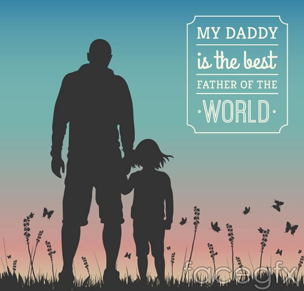 Fathers and children silhouettes vector