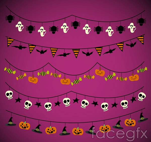 Halloween decorative flags vector