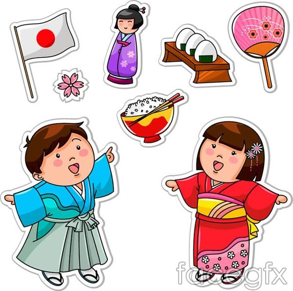 Japan child elements vector