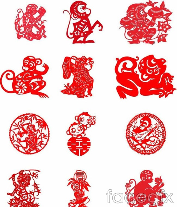 Monkey paper-cut designs vector
