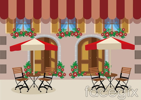 Outdoor café restaurant vector